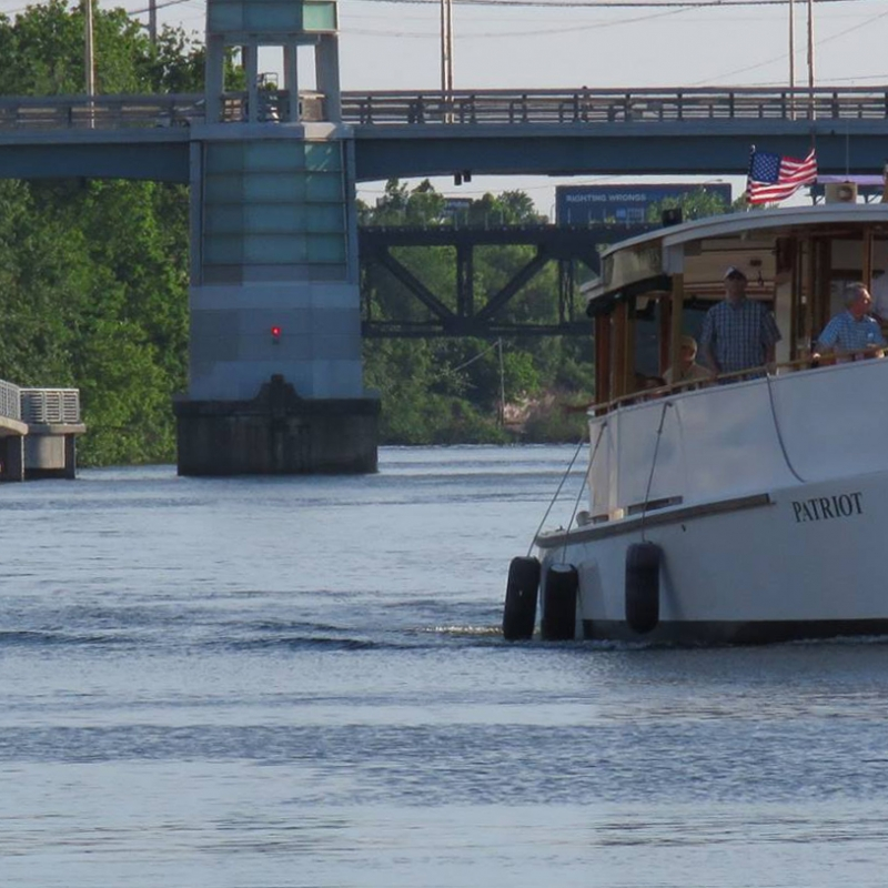 View of the Patriot by the Schuylkill Banks Boardwalk and the South Street Bridge