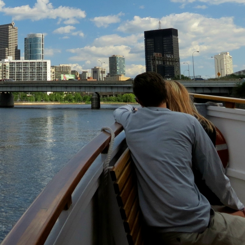 Philadelphia skyline from a boat on the Schuylkill
